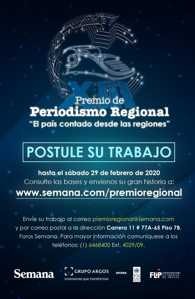 Abierta convocatoria para XIII premio de periodismo regional 2020